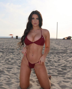 Jessica Bartlett modelling a Boutine LA bikini at the beach in Santa Monica, California​​. [2]​