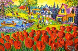 ArtWorld - yellow skies red tulips cottage (2018 KM0084 Mertikas)
