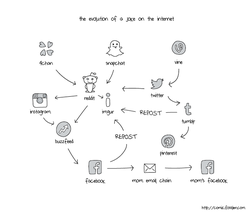 The evolution on the joke on the internet (by Liz Fosslien)