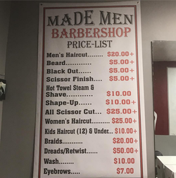 MADE MEN BARBER SHOP Price List