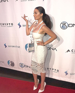 Penelope Felix Ceja pictured at Crypto Invest Summit 's afterparty in October (2018)