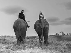 Riccadro and Saskia Spagni ridingelephants together.[2]
