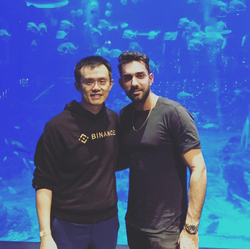Sam Farao and Changpeng Zhao at the Binance private after party