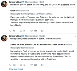 Sameera Khan's tweets claiming she would give her life for the return of Stalin