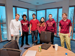 Office meeting with Block.one engineers Serguei and Zach and Virginia Tech students.