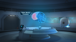 Virtuleap Attention Lab showing the interactive holographic brain