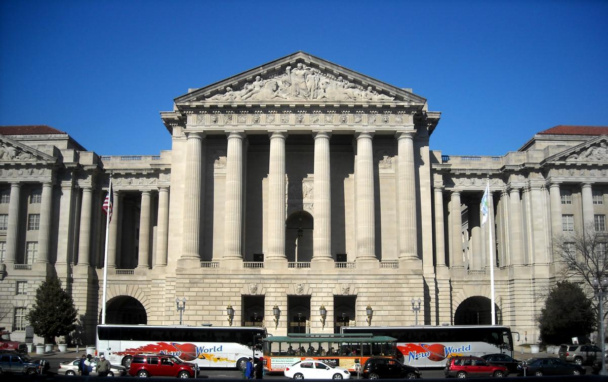 Facade of the Andrew W. Mellon Auditorium in 2009