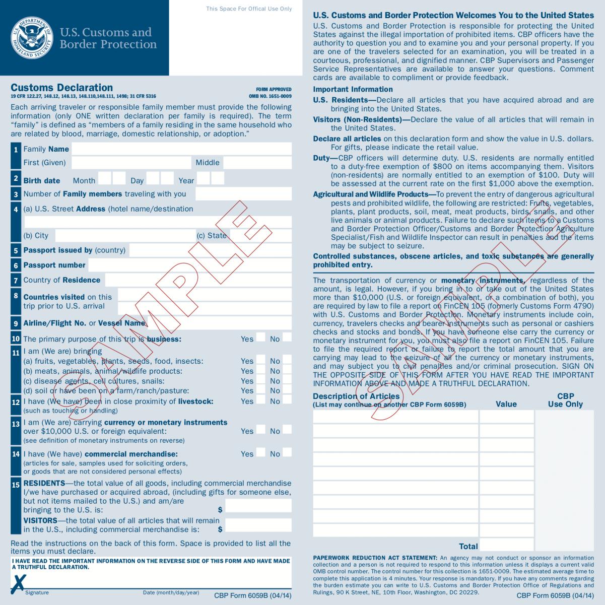 customs declaration wiki