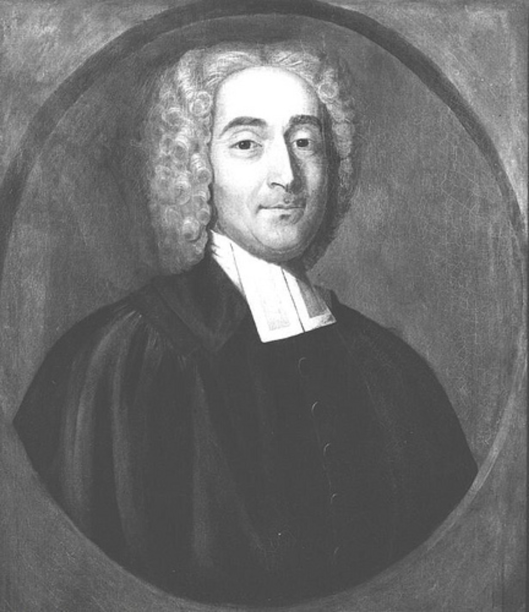 """Portrait of Rev. Elisha Williams,fourth Rector of <a href=""""/content/Yale_College"""" style=""""color:blue"""">Yale College</a>"""