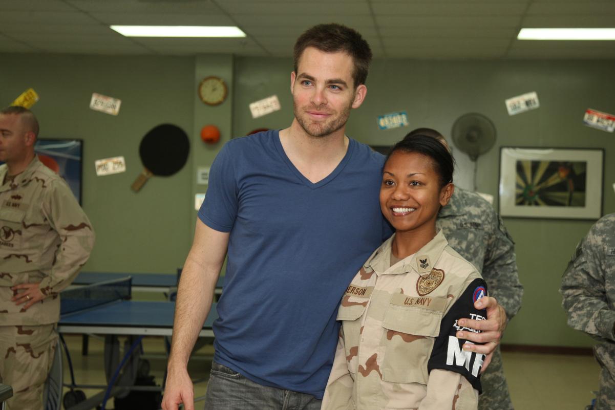 Chris Pine poses for a photograph at Camp Arifjan, Kuwait following a screening of Star Trek.