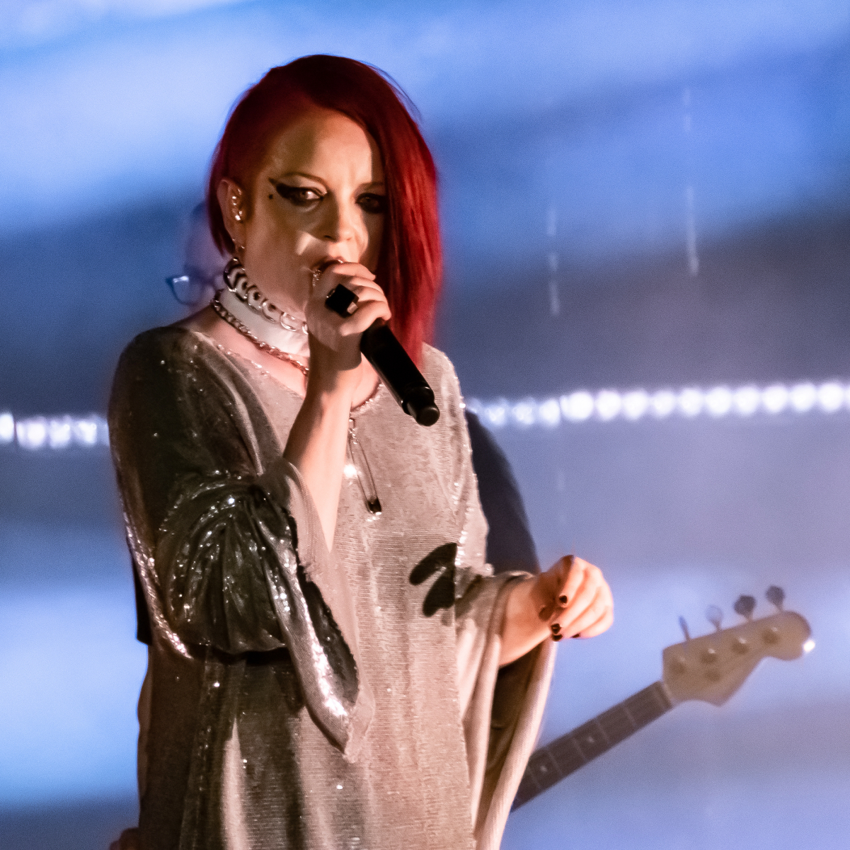 """Manson performing with <a href=""""/content/Garbage_(band)"""" style=""""color:blue"""">Garbage</a> in May 2019"""