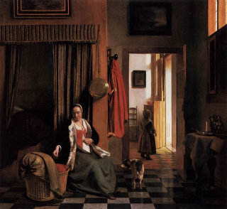 Woman Lacing Her Bodice Beside a Cradle